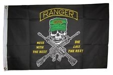 2x3 Army Rangers Mess With The Best Die Like The Rest Ranger Hat Flag 2'x3'