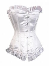White Satin Steel Boned Long-Line Authentic Overbust Corset Size 20