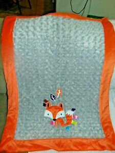 Taggies Orange and Gray with appliqued fox baby toddler blanket