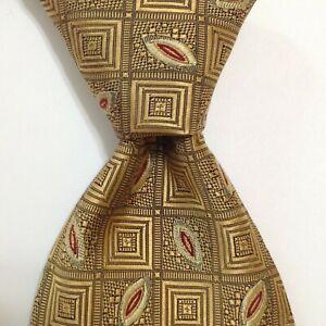 ROBERT TALBOTT Best of Class Men's Silk Necktie Designer Geometric Gold/Red GUC