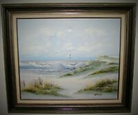 Beach Seascape Seagulls Oil Painting on Canvas Signed WATERMAN 20x24