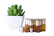 Glass Bottles*10 x 3ml*Amber*Metal Roller*Essential Oil*Refillable*Aromatherapy