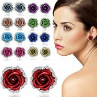 Rose Flower Crystal Rhinestone Ear Stud Earrings Women Party Fashion Jewelry