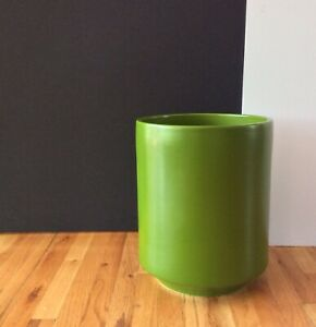 """Mid Century Gainey Architectural Pottery """"Avocado"""" Green Cylinder Vessel Rare!"""
