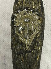 Antique Victorian French Metalwork Hat Pin - Unusual Silver Hammered Flower