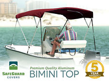 """NEW 3 BOW BURGUNDY BIMINI BOAT COVER TOP WITH BOOT 6'L X 46""""H x 91""""-96""""W"""