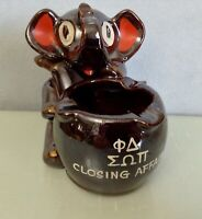 "Vintage 1958 Fraternity Ceramic ELEPHANT Ashtray ""Closing Affair '58"" Phi Delta"