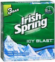Irish Spring Deodorant Bar Soap, Icy Blast, 3.75 oz bars, 3 ea (Pack of 2)