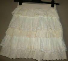 Cream Lace Layered Skirt Medium Size 12-14 Pull On Elastic Waist NEW Tag £16.99