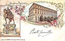 5094) SALUTI DA PIACENZA 2 VEDUTINE ALESSANDRO FARNES E PALAZZO  VG IL 1/1/1899.