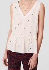 Ann Taylor LOFT Floral Dot Peplum Shell Top Size Medium, Large NWT Whisper White