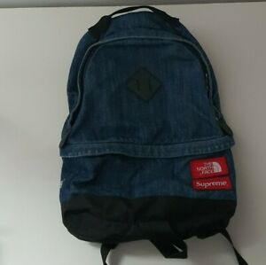 Rare SS15 Supreme x THE NORTH FACE Denim Day Pack blue backpack TNF