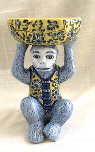 Vintage Heavy Ceramic Monkey Soap/Change Holder, Blue & Yellow - China