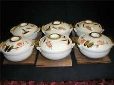 STUNNING POTTERY INDIVIUAL DISHES WITH LIDS HAND MADE & PAINTED + STANDS X 10