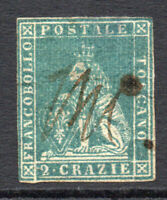 Tuscany (Italy) 2 Crazie Blue/Green Stamp c1851-52 Used (thin) (3407)