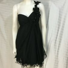 Mac Duggal Couture Cocktail Dress Size 4 Black One Shoulder Bows Rhinestones