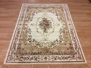 Cream Gold Silk Like Traditional Classic Oriental Design Rug Washable M-XL 60%OF