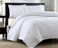 WHITE MATELASSE 3pc King QUILT SET : QUEBEC COTTON FILL COVERLET