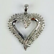 10K White Gold Diamond Round Baguette Accent Open Heart Pendant JWBR