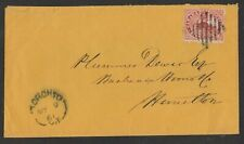 1861 5¢ BEAVER, VF, TORONTO TO HAMILTON, MAY 9, 1861, PERFS TOUCH ONLY ON LEFT