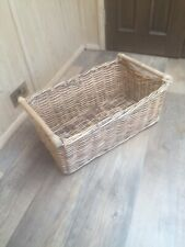 Large rectangular willow wicker storage log basket inset handles 2 Available