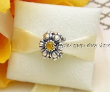 Authentic Pandora Silver BIRTHDAY BLOOMS November CITRINE Charm 790580CI RETIRED