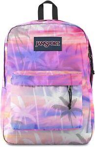 """JANSPORT Super Break 15"""" Shoulder Drop 100% Polyester Classic Backpack PALM PARA"""