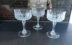 3 X VINTAGE CRISTAL D ARQUES CRYSTAL CHAMPAGNE COUPES GLASSES LONGCHAMP FRENCH