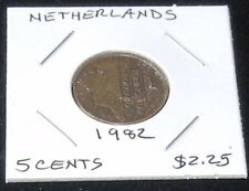 TWO COINS ~ 1982 Netherlands 5 Cent KM202 & 1969 Norway (EXTRA FINE) 5 ORE KM405