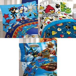 nEw VIDEO GAMES BED SHEETS SET - Mario Sonic Angry Birds Sheets Pillowcase