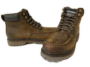 Skechers Men's Hiking Boots Brown leather Work Boot memory foam Size 8 Eur41 UK7