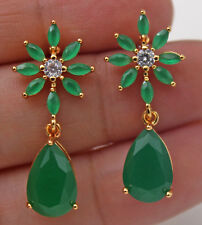 18K Yellow Gold Filled - 1.2'' Flower Teardrop Emerald Jade Topaz Stud Earrings
