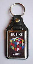 RUBIKS CUBE FAUX LEATHER KEY RING.
