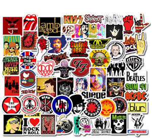 MUSIC STICKERS 52 BANDS ROCK NIRVANA BEATLES HENDRIX WHO FOR GUITAR / DRUM CASE
