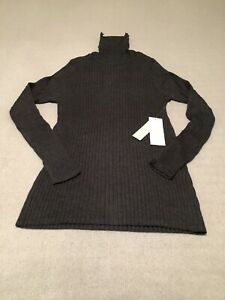 chicos turtleneck sweater long sleeve ribbed coolmax gray small new with tags