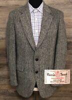 VTG Harris Tweed Men Scottish Wool Gray Herringbone Blazer Sport Coat Jacket 38R