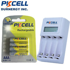4 Count NiMh AAA Rechargeable Battery 1200mAh 1.2V+AA/AAA Battery Charger PKCELL