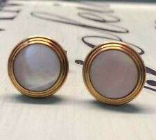 Gold Tone Cufflinks Mens Jewelry Vtg Simmons Mother Of Pearl Mop
