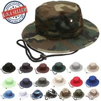 dfc93edb895 Military Hunting Fishing Camping Boonie Outdoor Bucket Hat with adjustable  strap