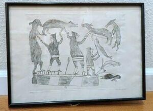 Vintage INUIT print (49/50) Kiakshuk original signed 1968 Eskimo