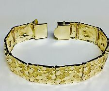 10kt Solid Yellow Gold Handmade Mens Nugget Bracelet 17 mm 40 grams 8.75""