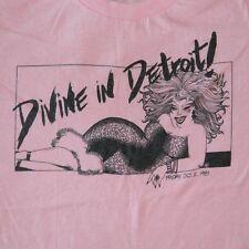 VTG DIVINE IN DETROIT! 1981 T-SHIRT 80S PINK FLAMINGOS JOHN WATERS CULT MOVIES