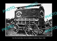 OLD POSTCARD SIZE PHOTO BOER WAR MILITARY AFRIKANERS AMBULANCE WAGON c1900