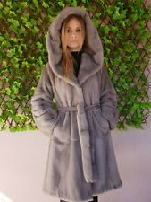 REAL MINK FUR COAT JACKET HOOD SILVER GREY MEXA NERZMANTEL SABLE CHINCHILLA 226