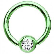 """Captive Lip Ear Eyebrow Ring 16 Gauge 5/16"""" Titanium Green Lt w/Clear 3mm Gem B"""
