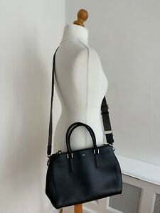 ANYA HINDMARCH Black Leather Double Zip Detachable Strap Handbag Shoulder Bag