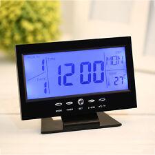 VOICE CONTROL BACK LIGHT LCD ALARM DESK CLOCK WEATHER M0NITOR CALENDAR-BLACK