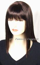 Perruques et toupets long brun foncé pour femme