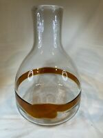 "Large Cased Art Glass Vase Clear & Brown Strip 13"" Hand Blown Signed C565"