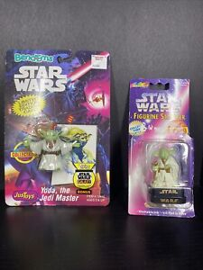 Star Wars Yoda Toys - Bend Ems w/ Topps Card & Rose Art Figurine Stamper